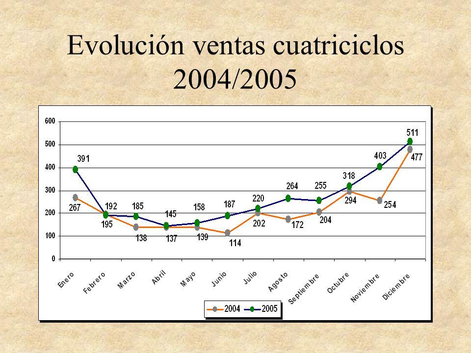 Evolución ventas cuatriciclos 2004/2005