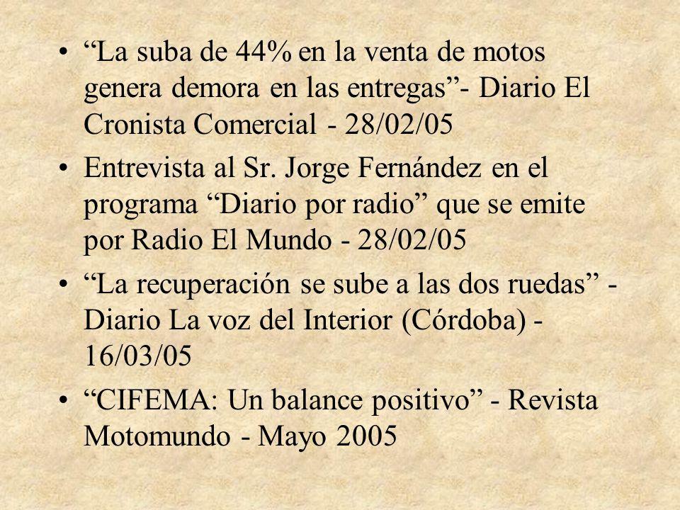 La suba de 44% en la venta de motos genera demora en las entregas- Diario El Cronista Comercial - 28/02/05 Entrevista al Sr.