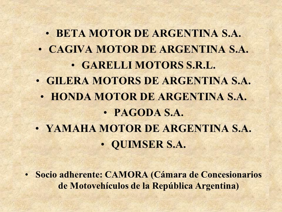 BETA MOTOR DE ARGENTINA S.A. CAGIVA MOTOR DE ARGENTINA S.A.