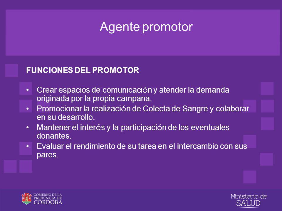 Agente promotor FUNCIONES DEL PROMOTOR Implementar las 4 líneas de acción: Concientizaci ó n Captaci ó n Fidelizaci ó n Proyecci ó n