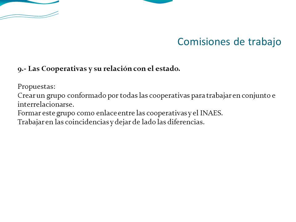 9.- Las Cooperativas y su relación con el estado.