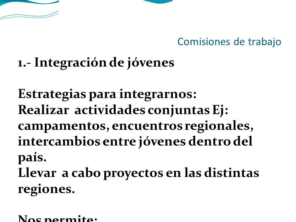 Comisiones de trabajo 1.- Integración de jóvenes Estrategias para integrarnos: Realizar actividades conjuntas Ej: campamentos, encuentros regionales, intercambios entre jóvenes dentro del país.