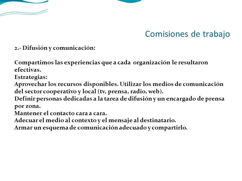 2.- Difusión y comunicación: Compartimos las experiencias que a cada organización le resultaron efectivas.