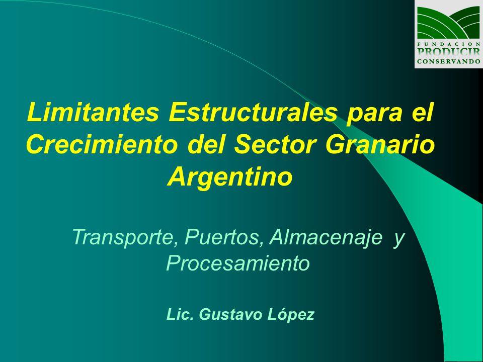 Limitantes Estructurales para el Crecimiento del Sector Granario Argentino Transporte, Puertos, Almacenaje y Procesamiento Lic.