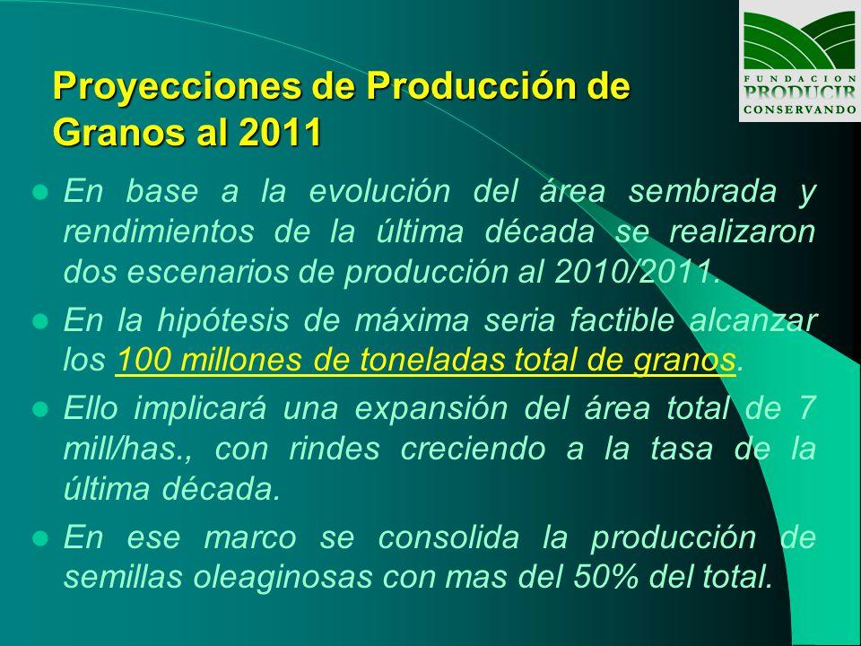 Proyecciones de Producción de Granos al 2011 En base a la evolución del área sembrada y rendimientos de la última década se realizaron dos escenarios de producción al 2010/2011.