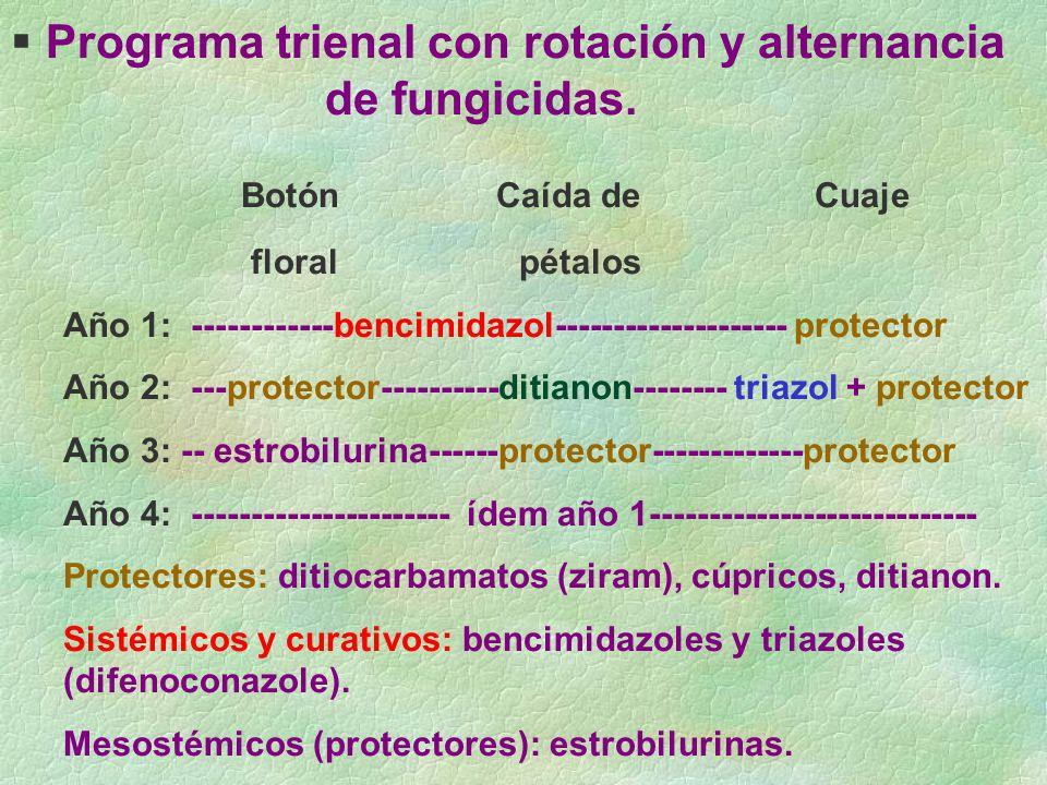 Programa trienal con rotación y alternancia de fungicidas. Botón Caída de Cuaje floral pétalos Año 1: ------------bencimidazol-------------------- pro