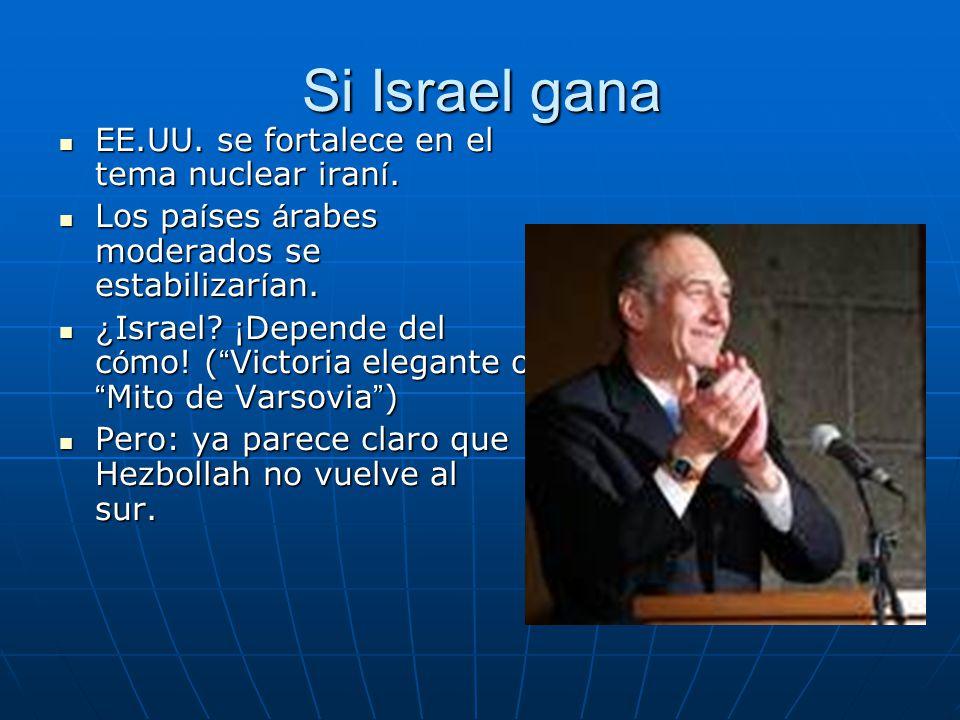 Si Israel gana EE.UU. se fortalece en el tema nuclear iran í. EE.UU. se fortalece en el tema nuclear iran í. Los pa í ses á rabes moderados se estabil