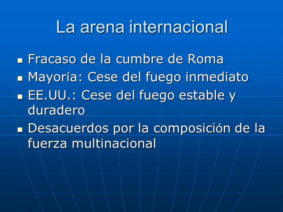 La arena internacional Fracaso de la cumbre de Roma Fracaso de la cumbre de Roma Mayor í a: Cese del fuego inmediato Mayor í a: Cese del fuego inmedia