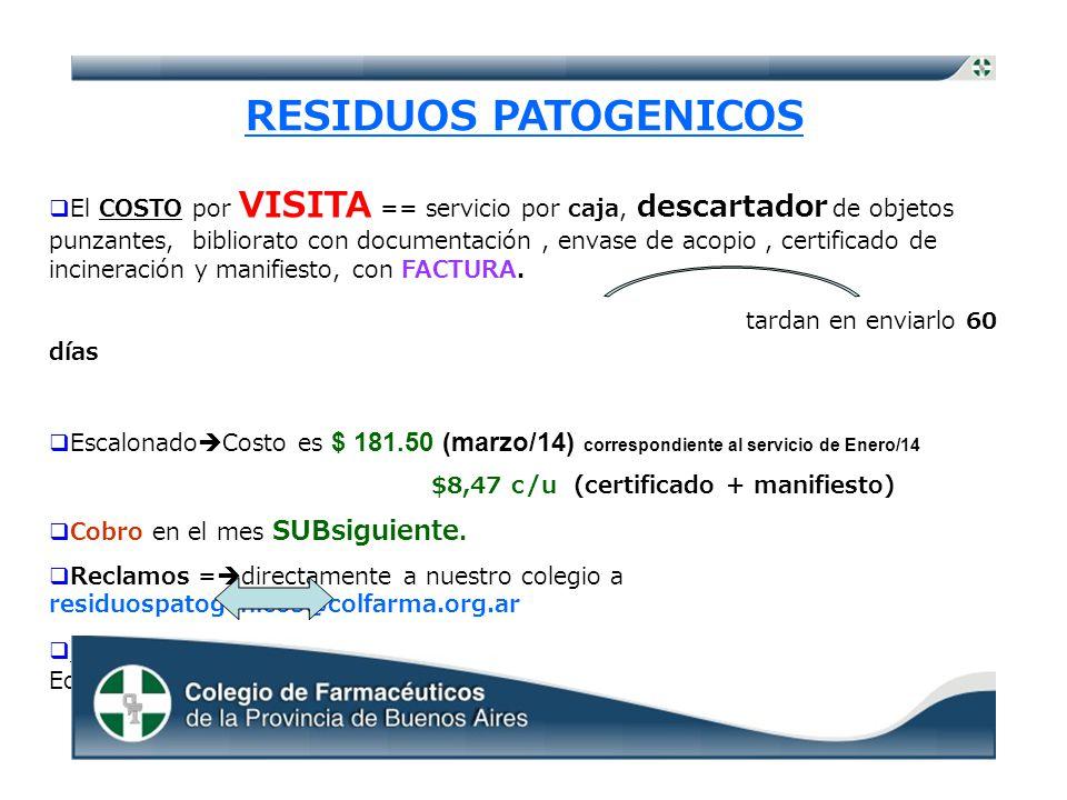 RESIDUOS PATOGENICOS El COSTO por VISITA == servicio por caja, descartador de objetos punzantes, bibliorato con documentación, envase de acopio, certificado de incineración y manifiesto, con FACTURA.
