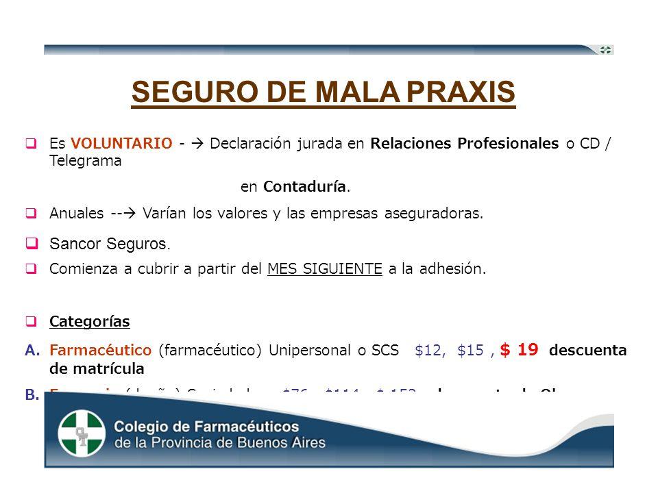 SEGURO DE MALA PRAXIS Es VOLUNTARIO - Declaración jurada en Relaciones Profesionales o CD / Telegrama en Contaduría.