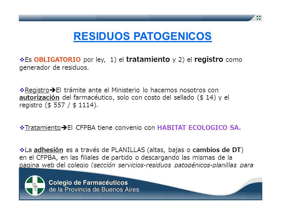 RESIDUOS PATOGENICOS Es OBLIGATORIO por ley, 1) el tratamiento y 2) el registro como generador de residuos.