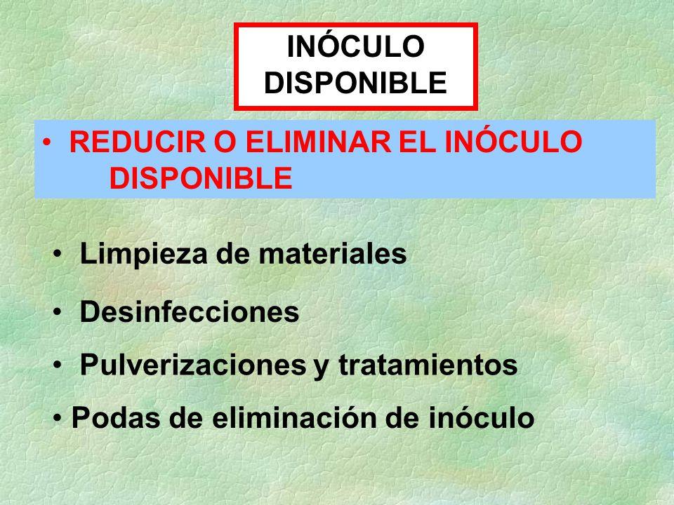 INÓCULO DISPONIBLE REDUCIR O ELIMINAR EL INÓCULO DISPONIBLE Desinfecciones Pulverizaciones y tratamientos Limpieza de materiales Podas de eliminación