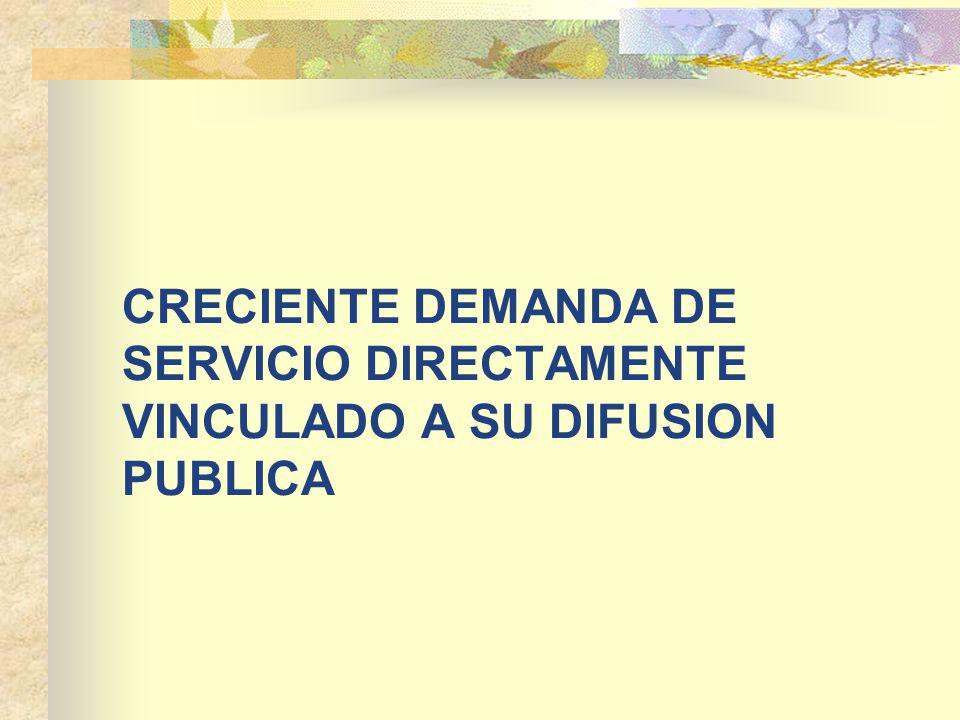 CRECIENTE DEMANDA DE SERVICIO DIRECTAMENTE VINCULADO A SU DIFUSION PUBLICA