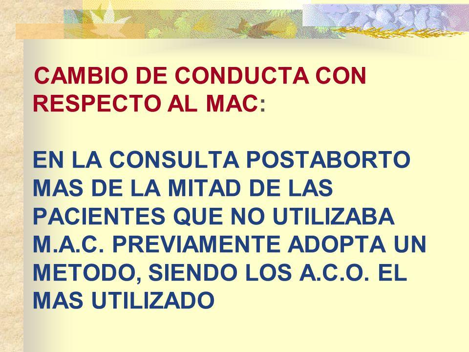 CAMBIO DE CONDUCTA CON RESPECTO AL MAC: EN LA CONSULTA POSTABORTO MAS DE LA MITAD DE LAS PACIENTES QUE NO UTILIZABA M.A.C.