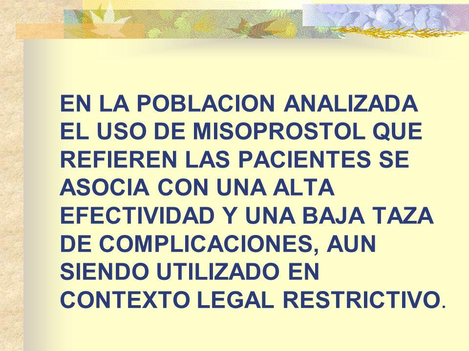 EN LA POBLACION ANALIZADA EL USO DE MISOPROSTOL QUE REFIEREN LAS PACIENTES SE ASOCIA CON UNA ALTA EFECTIVIDAD Y UNA BAJA TAZA DE COMPLICACIONES, AUN SIENDO UTILIZADO EN CONTEXTO LEGAL RESTRICTIVO.