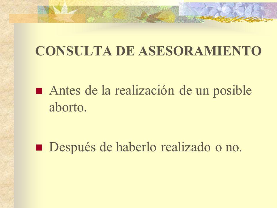 CONSULTA DE ASESORAMIENTO Antes de la realización de un posible aborto.