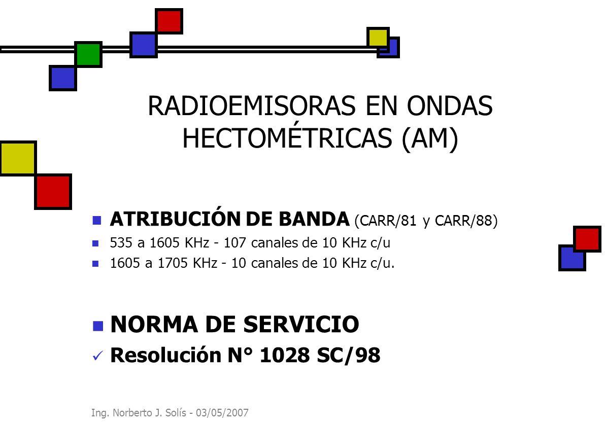 Ing. Norberto J. Solís - 03/05/2007 RADIOEMISORAS EN ONDAS HECTOMÉTRICAS (AM) ATRIBUCIÓN DE BANDA (CARR/81 y CARR/88) 535 a 1605 KHz - 107 canales de
