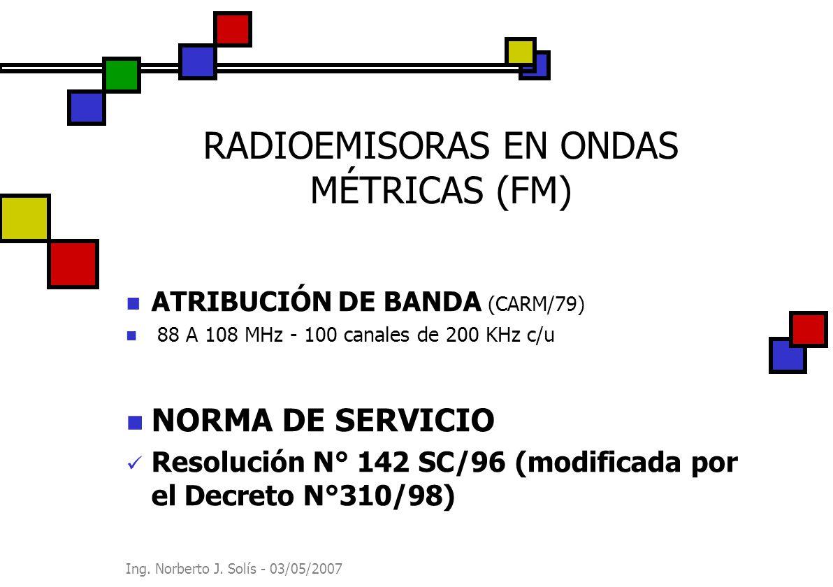 Ing. Norberto J. Solís - 03/05/2007 RADIOEMISORAS EN ONDAS MÉTRICAS (FM) ATRIBUCIÓN DE BANDA (CARM/79) 88 A 108 MHz - 100 canales de 200 KHz c/u NORMA