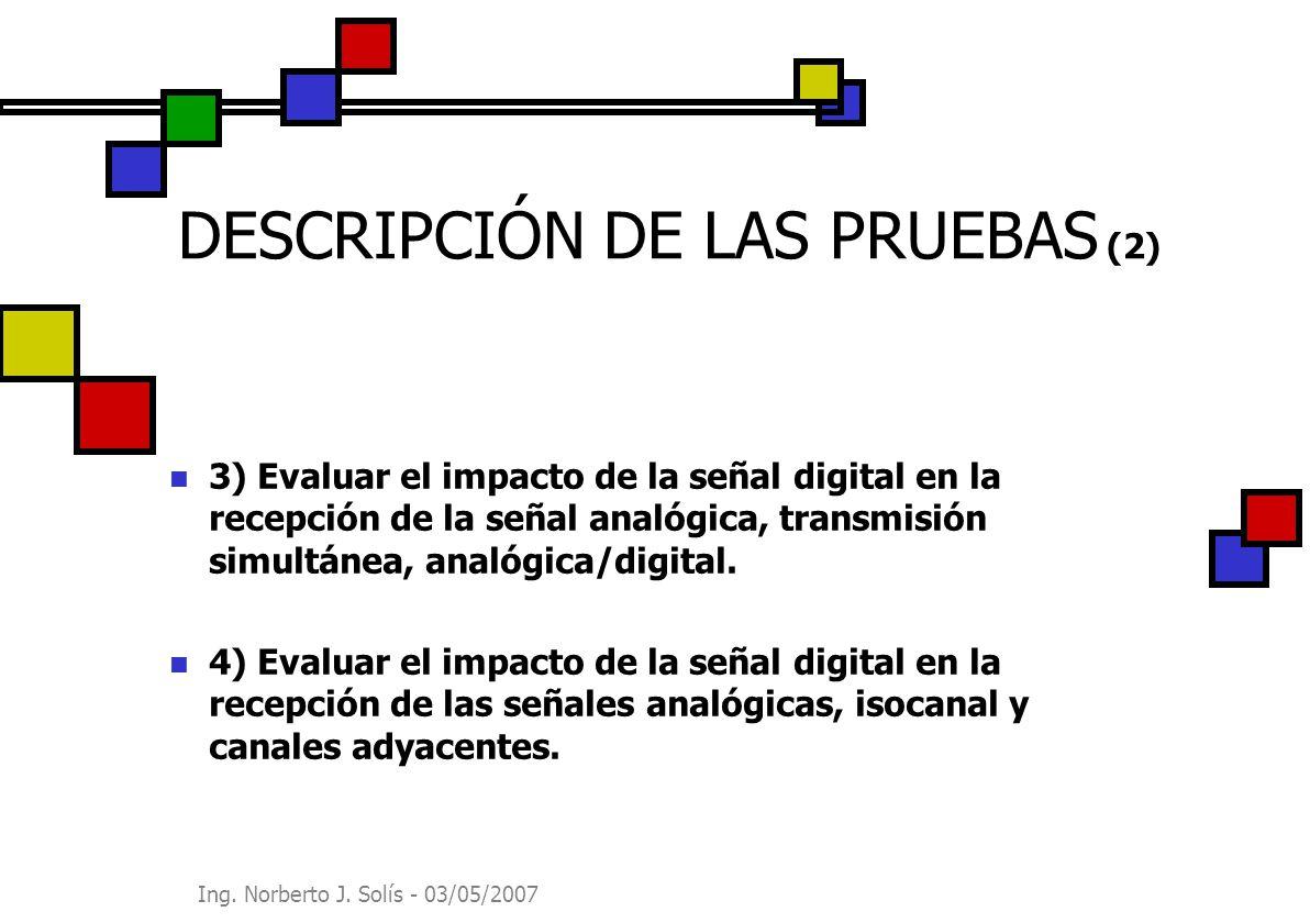 Ing. Norberto J. Solís - 03/05/2007 DESCRIPCIÓN DE LAS PRUEBAS (2) 3) Evaluar el impacto de la señal digital en la recepción de la señal analógica, tr