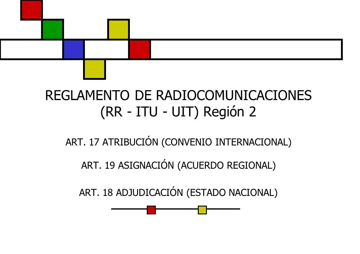REGLAMENTO DE RADIOCOMUNICACIONES (RR - ITU - UIT) Región 2 ART. 17 ATRIBUCIÓN (CONVENIO INTERNACIONAL) ART. 19 ASIGNACIÓN (ACUERDO REGIONAL) ART. 18