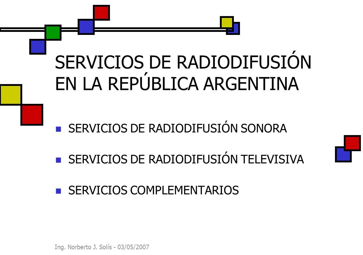 Ing. Norberto J. Solís - 03/05/2007 SERVICIOS DE RADIODIFUSIÓN EN LA REPÚBLICA ARGENTINA SERVICIOS DE RADIODIFUSIÓN SONORA SERVICIOS DE RADIODIFUSIÓN