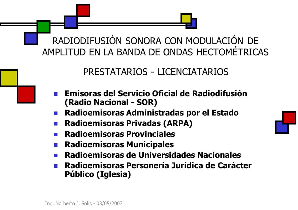 Ing. Norberto J. Solís - 03/05/2007 RADIODIFUSIÓN SONORA CON MODULACIÓN DE AMPLITUD EN LA BANDA DE ONDAS HECTOMÉTRICAS PRESTATARIOS - LICENCIATARIOS E