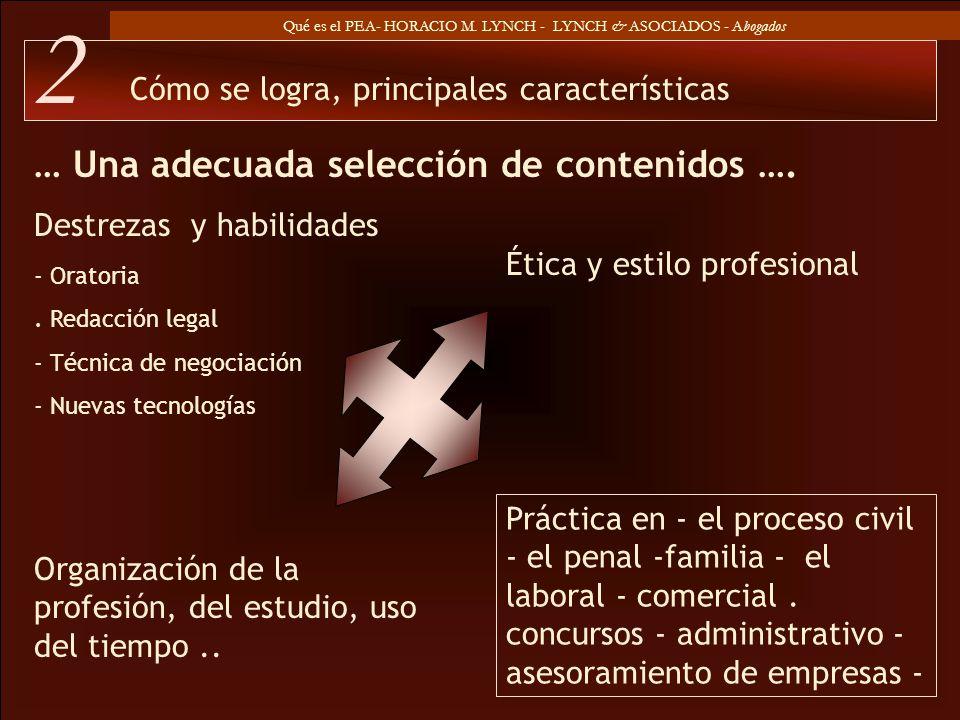 Qué es el PEA- HORACIO M. LYNCH - LYNCH & ASOCIADOS - Abogados … Una adecuada selección de contenidos …. - Oratoria. Redacción legal - Técnica de nego