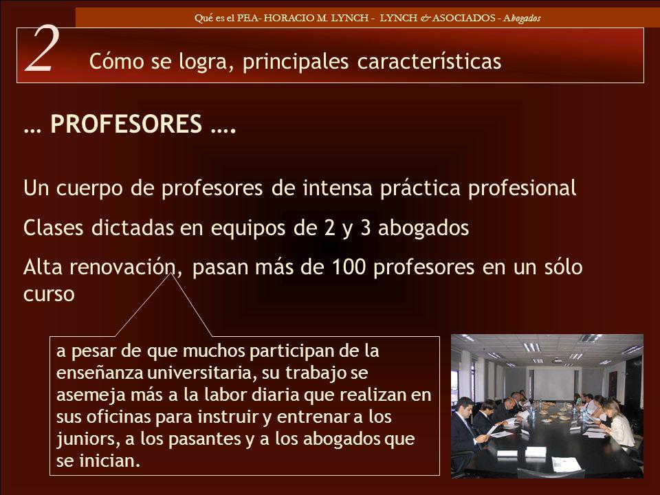 Qué es el PEA- HORACIO M. LYNCH - LYNCH & ASOCIADOS - Abogados … PROFESORES …. Cómo se logra, principales características 2 a pesar de que muchos part