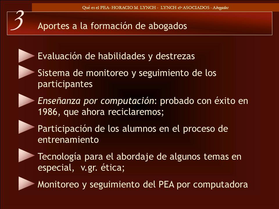 Qué es el PEA- HORACIO M. LYNCH - LYNCH & ASOCIADOS - Abogados Evaluación de habilidades y destrezas Sistema de monitoreo y seguimiento de los partici