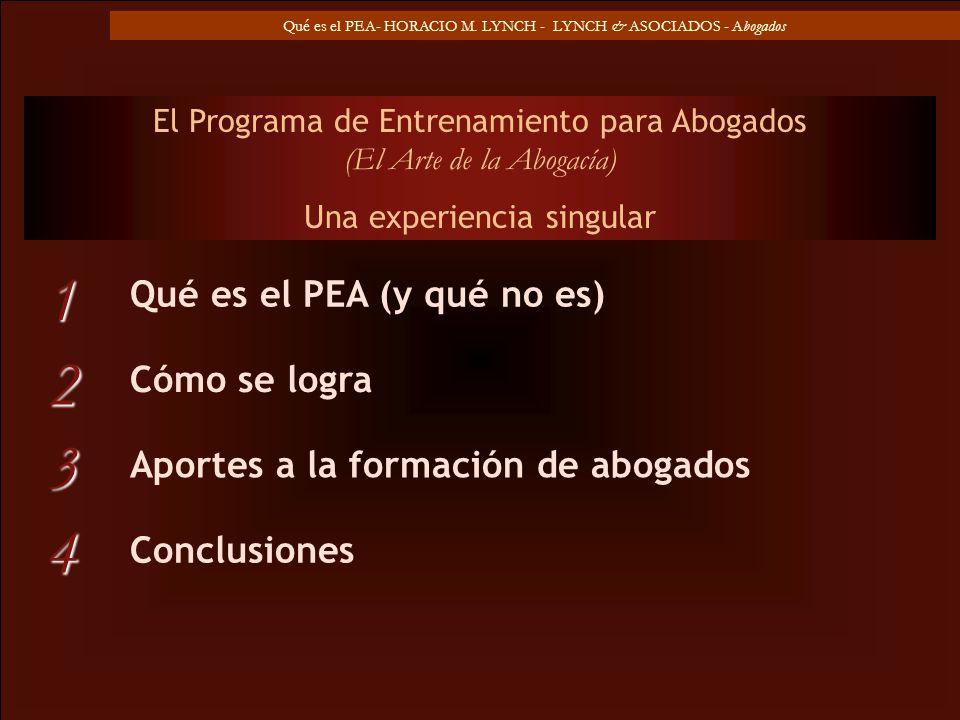 Qué es el PEA- HORACIO M. LYNCH - LYNCH & ASOCIADOS - Abogados Qué es el PEA (y qué no es) El Programa de Entrenamiento para Abogados (El Arte de la A