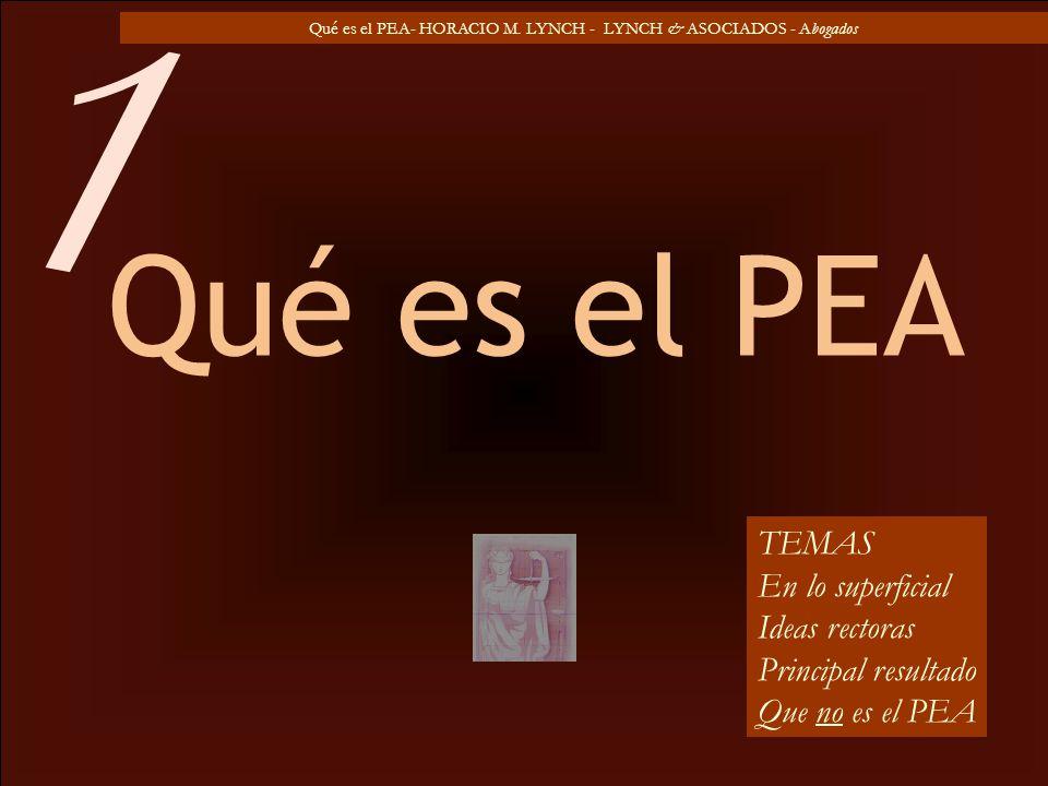 Qué es el PEA- HORACIO M. LYNCH - LYNCH & ASOCIADOS - Abogados Qué es el PEA TEMAS En lo superficial Ideas rectoras Principal resultado Que no es el P