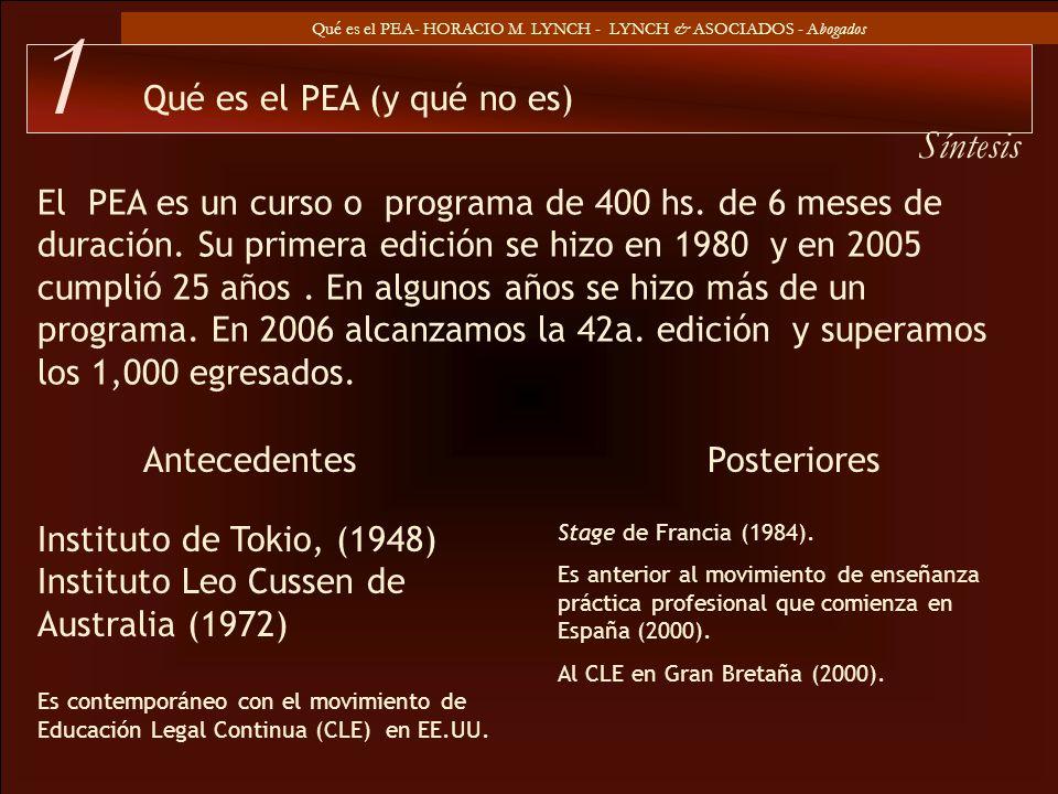 Qué es el PEA- HORACIO M. LYNCH - LYNCH & ASOCIADOS - Abogados El PEA es un curso o programa de 400 hs. de 6 meses de duración. Su primera edición se