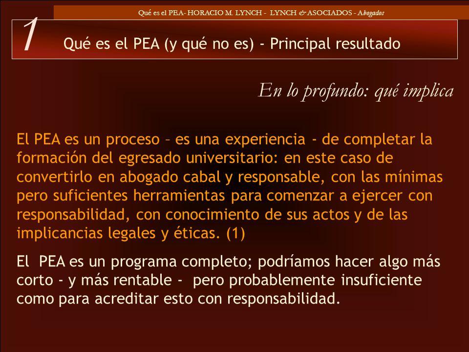 Qué es el PEA- HORACIO M. LYNCH - LYNCH & ASOCIADOS - Abogados El PEA es un proceso – es una experiencia - de completar la formación del egresado univ