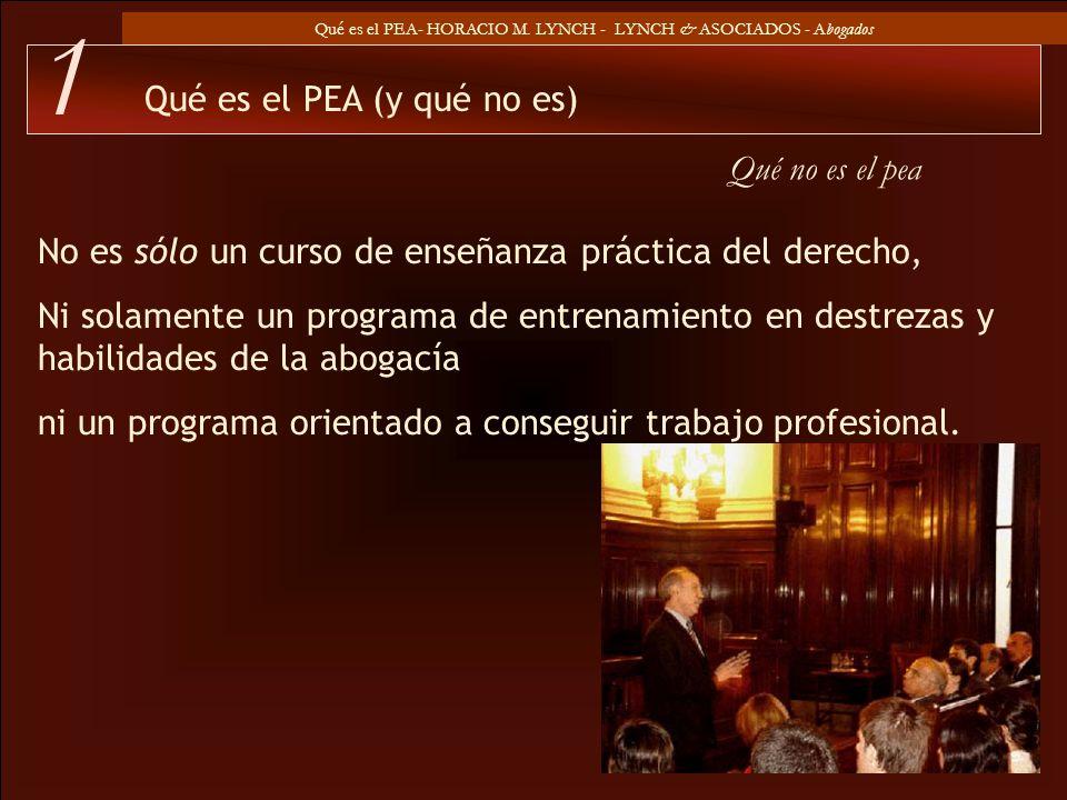 Qué es el PEA- HORACIO M. LYNCH - LYNCH & ASOCIADOS - Abogados Qué no es el pea Qué es el PEA (y qué no es) 1 No es sólo un curso de enseñanza práctic