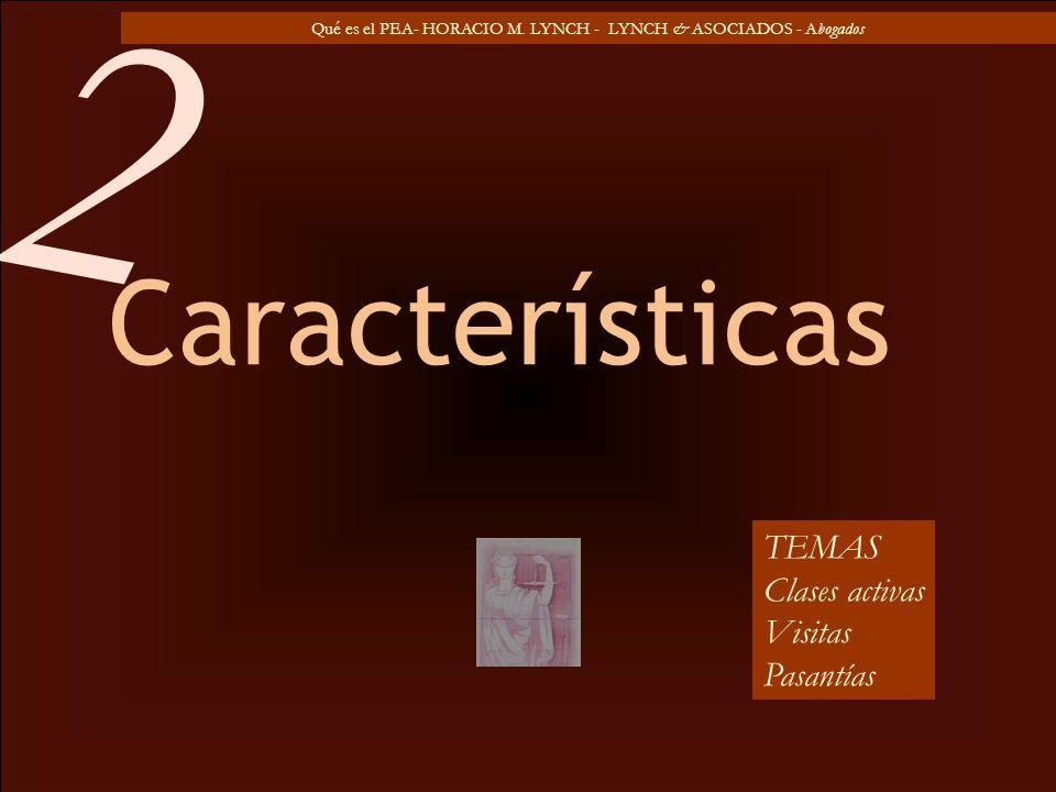 Qué es el PEA- HORACIO M. LYNCH - LYNCH & ASOCIADOS - Abogados Características TEMAS Clases activas Visitas Pasantías 2