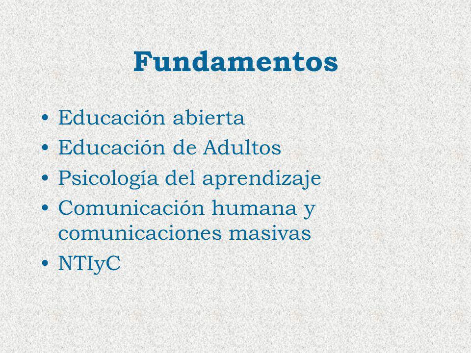 Fundamentos Educación abierta Educación de Adultos Psicología del aprendizaje Comunicación humana y comunicaciones masivas NTIyC