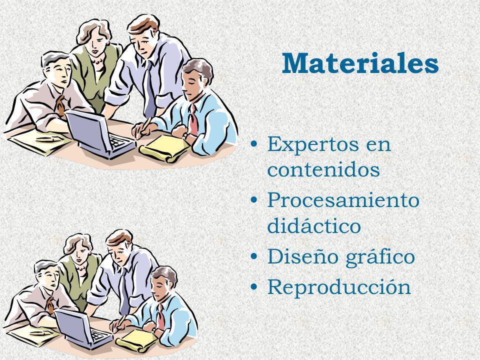 Materiales Expertos en contenidos Procesamiento didáctico Diseño gráfico Reproducción