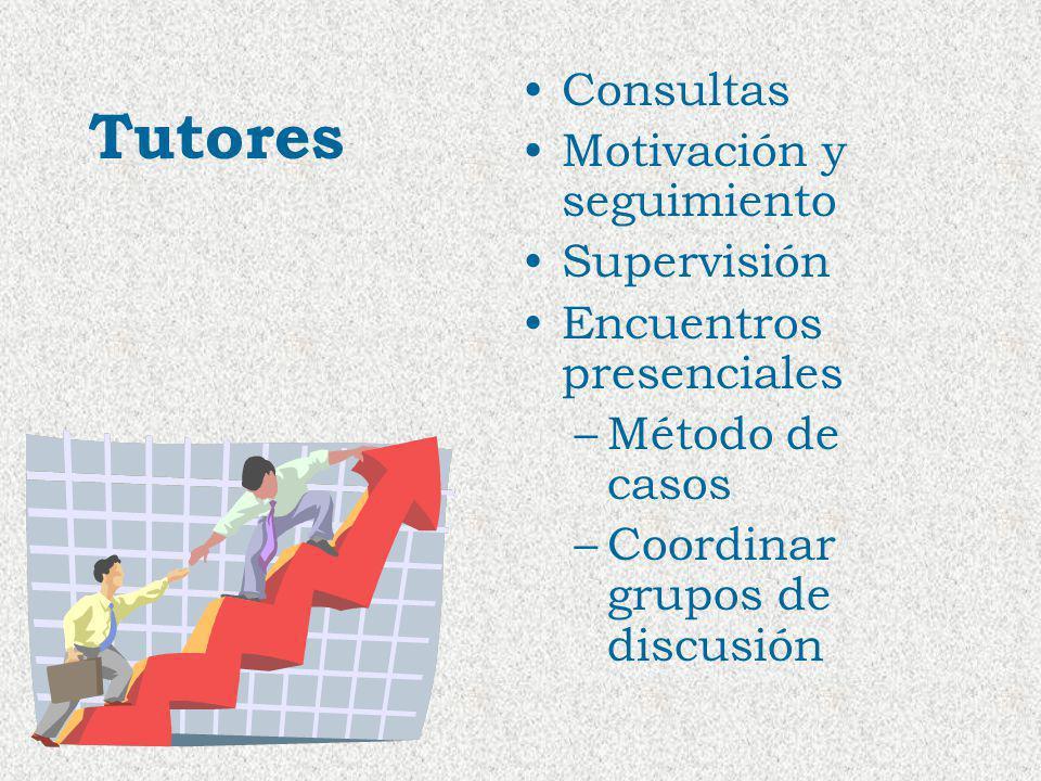 Tutores Consultas Motivación y seguimiento Supervisión Encuentros presenciales –Método de casos –Coordinar grupos de discusión