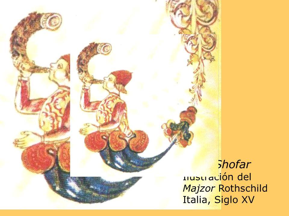 Tkiat Shofar Ilustración del Majzor Rothschild Italia, Siglo XV