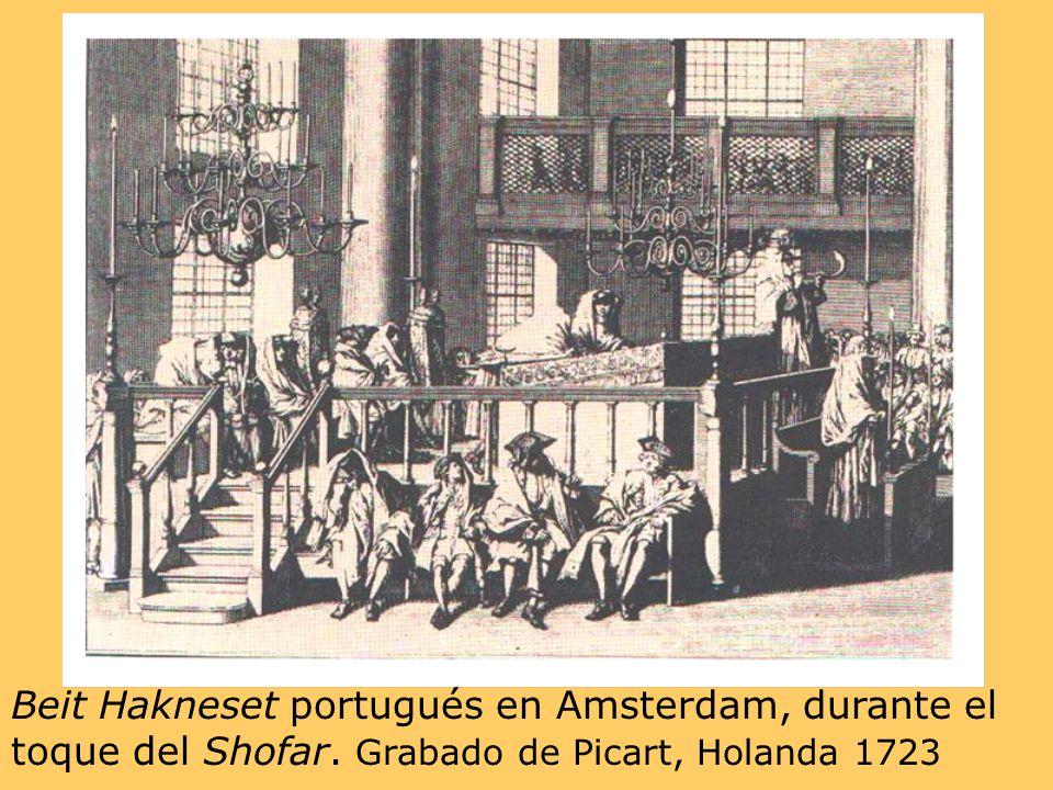 Beit Hakneset portugués en Amsterdam, durante el toque del Shofar. Grabado de Picart, Holanda 1723