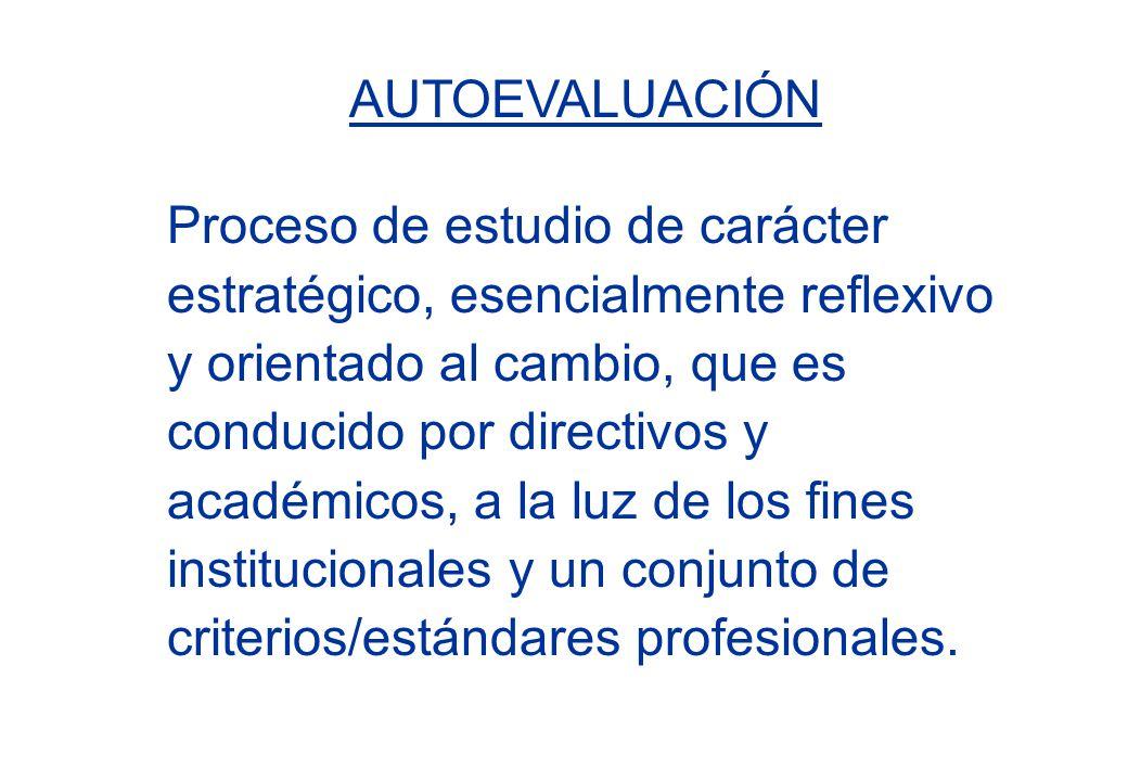 AUTOEVALUACIÓN Proceso de estudio de carácter estratégico, esencialmente reflexivo y orientado al cambio, que es conducido por directivos y académicos