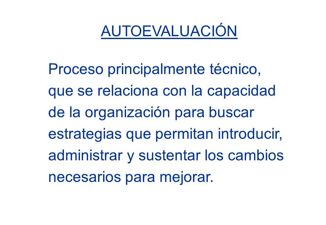 AUTOEVALUACIÓN Proceso principalmente técnico, que se relaciona con la capacidad de la organización para buscar estrategias que permitan introducir, a