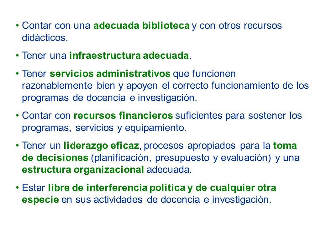 Contar con una adecuada biblioteca y con otros recursos didácticos. Tener una infraestructura adecuada. Tener servicios administrativos que funcionen