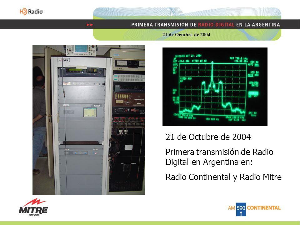 Primera transmisión de Radio Digital en Argentina en: Radio Continental y Radio Mitre 21 de Octubre de 2004