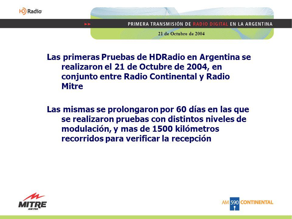 Las primeras Pruebas de HDRadio en Argentina se realizaron el 21 de Octubre de 2004, en conjunto entre Radio Continental y Radio Mitre Las mismas se prolongaron por 60 días en las que se realizaron pruebas con distintos niveles de modulación, y mas de 1500 kilómetros recorridos para verificar la recepción 21 de Octubre de 2004