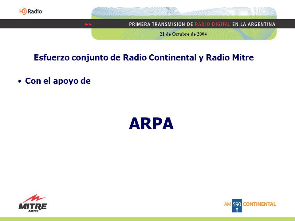 Esfuerzo conjunto de Radio Continental y Radio Mitre Con el apoyo de ARPA 21 de Octubre de 2004