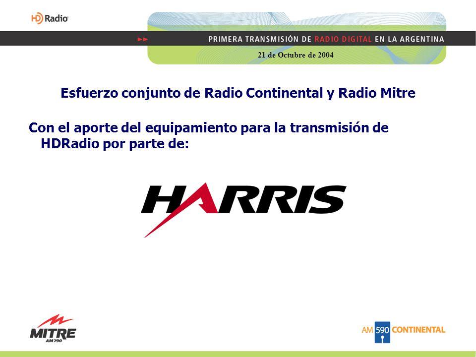 Esfuerzo conjunto de Radio Continental y Radio Mitre Con el aporte del equipamiento para la transmisión de HDRadio por parte de: 21 de Octubre de 2004
