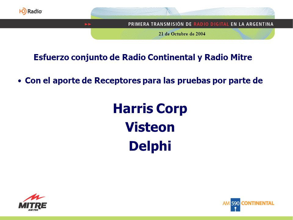 Esfuerzo conjunto de Radio Continental y Radio Mitre Con el aporte de Receptores para las pruebas por parte de Harris Corp Visteon Delphi 21 de Octubre de 2004