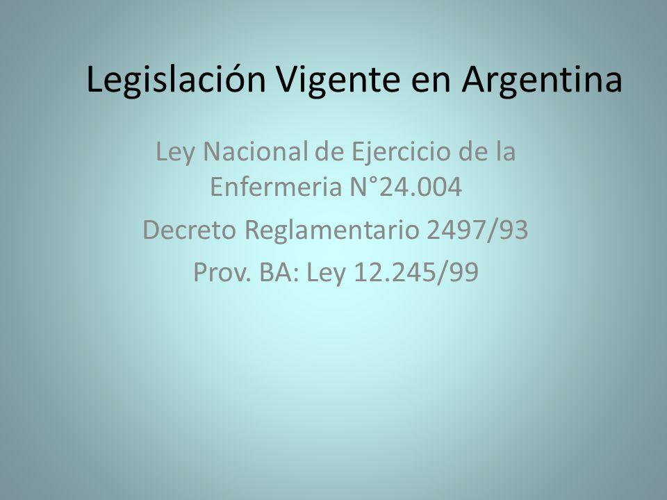Legislación Vigente en Argentina Ley Nacional de Ejercicio de la Enfermeria N°24.004 Decreto Reglamentario 2497/93 Prov. BA: Ley 12.245/99