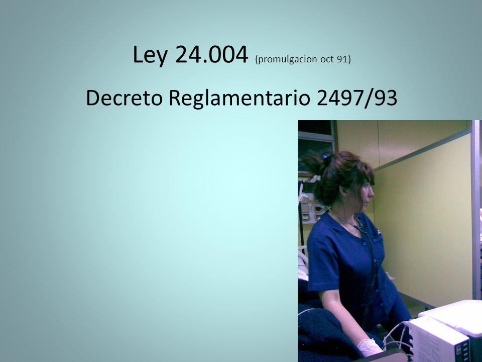 Ley 24.004 (promulgacion oct 91) Decreto Reglamentario 2497/93